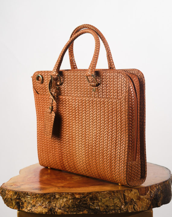 Handcrafted Tan Antele Woven Basket Leather Briefcase
