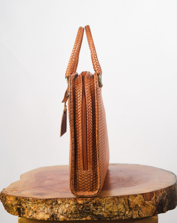 Tan Antele Woven Basket Leather Briefcase