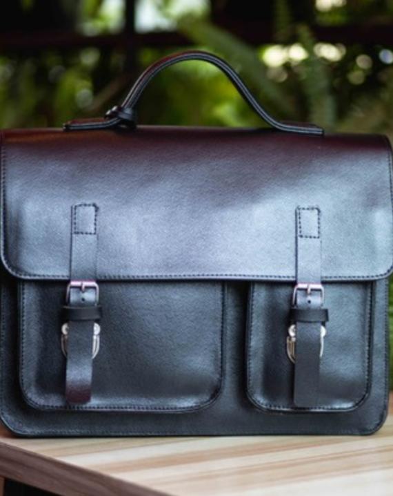 Black Satchel Leather Briefcase