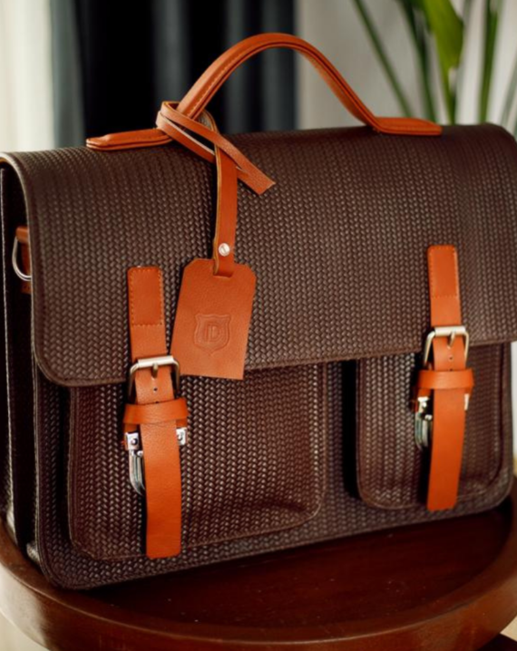 Detail Africa Woven Basket Satchel Leather Briefcase