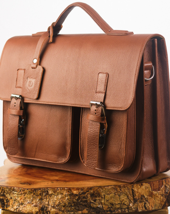 Dark Brown Satchel Briefcase Front View
