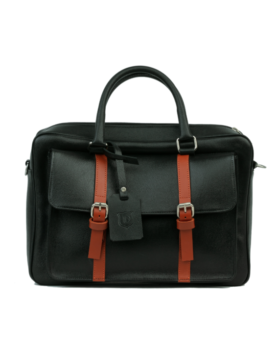 Detail Africa Signature Briefcase With Burnt Orange Detail