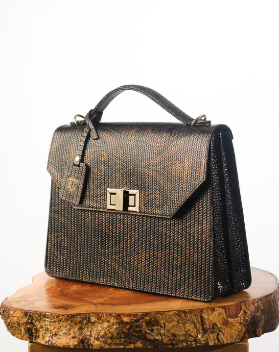 Black Fome Imprint Handcrafted Leather Briefcase