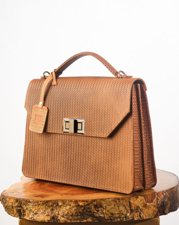 Light Brown Woven Basket Fome Leather Briefcase