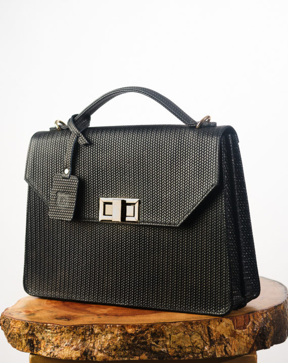 Fome Handcrafted Unisex Black Leather Briefcase
