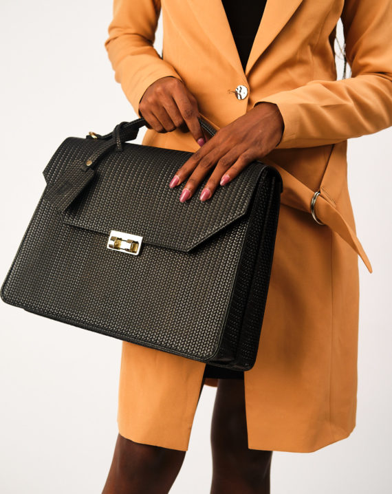Fome Black Woven Leather Briefcase