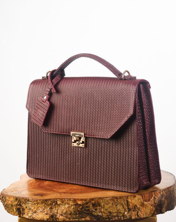 Dark Wine Fome Leather Briefcase