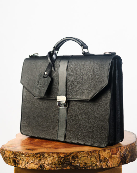 Naju All Black Briefcase with Black Mid Rib