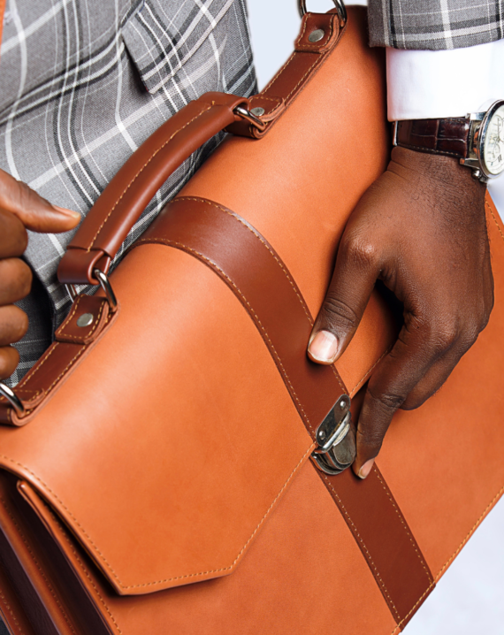 Detail Africa Tan Naju Handcrafted Leather Briefcase